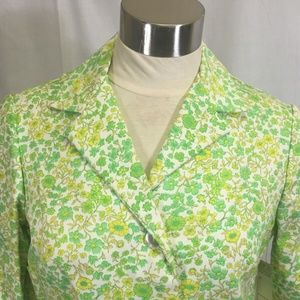 70s Blazer Vibrant Floral Cotton Button Jacket Med